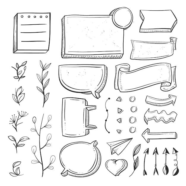 Sammlung von handgezeichneten elementen für aufzählungszeichen Premium Vektoren