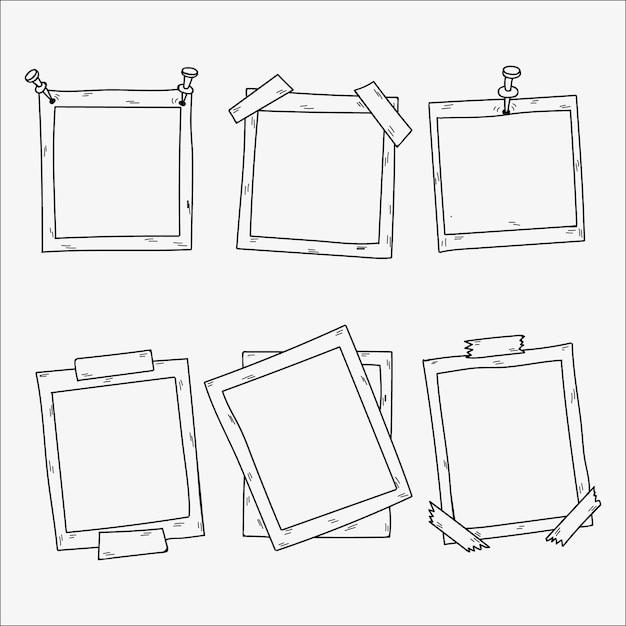 Sammlung von handgezeichneten fotorahmen Kostenlosen Vektoren