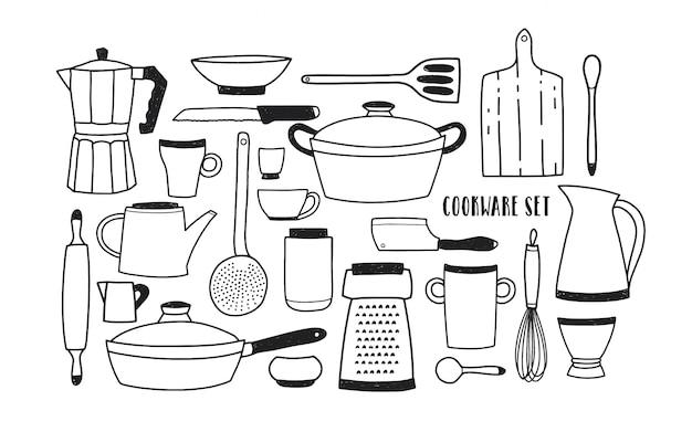 Sammlung von handgezeichneten küchenutensilien und werkzeugen zum kochen. satz monochromes karikatur-kochgeschirr. illustration im trendigen doodle-stil. Premium Vektoren