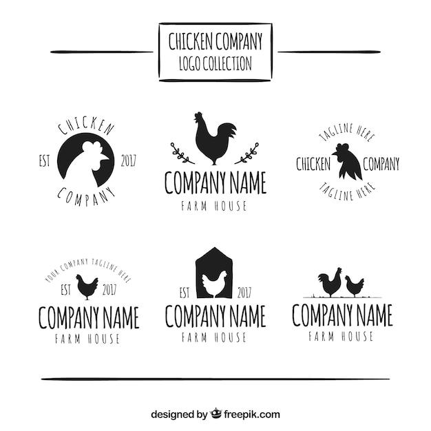 Sammlung von handgezeichneten logos von huhn unternehmen Kostenlosen Vektoren