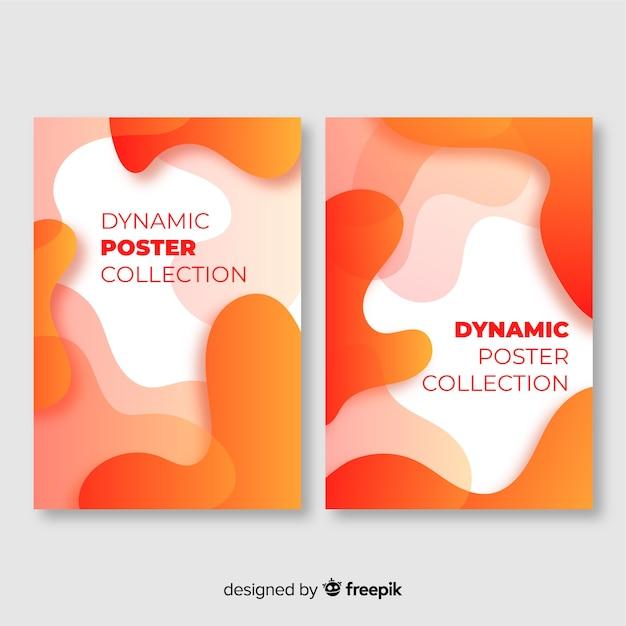 Sammlung von hintergründen mit dynamischen formen in bewegung Kostenlosen Vektoren