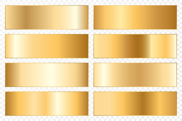 Sammlung von hintergründen mit einem metallischen farbverlauf. brillante teller mit goldeffekt. Premium Vektoren