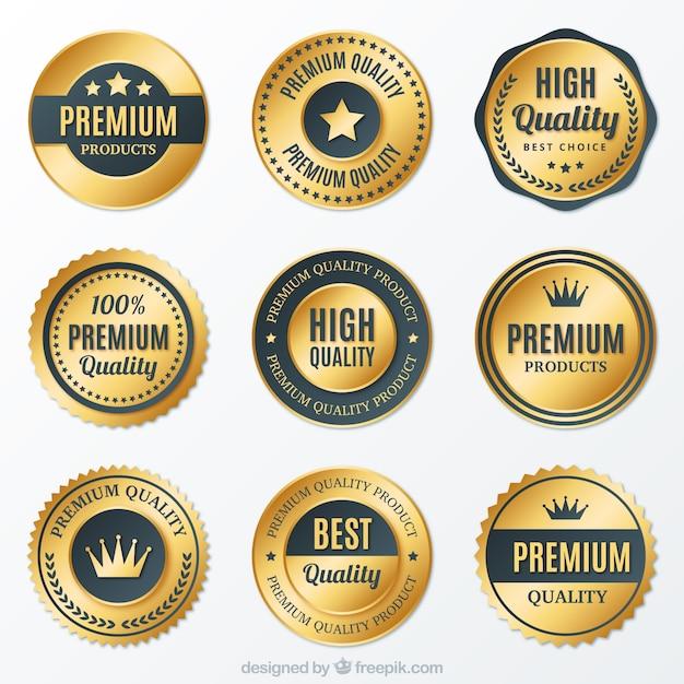 Sammlung von hochwertigen goldenen runden abzeichen Kostenlosen Vektoren