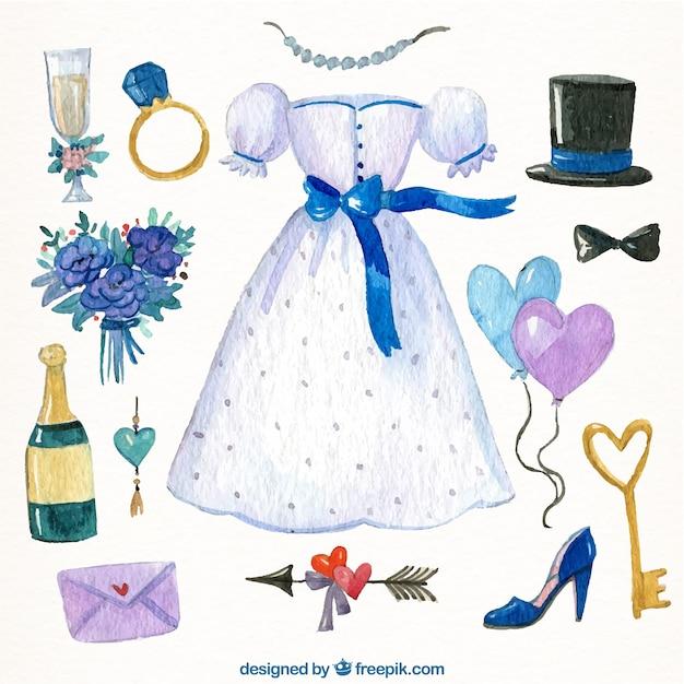 Sammlung Von Hochzeit Elemente Gemalt Mit Aquarell Download Der