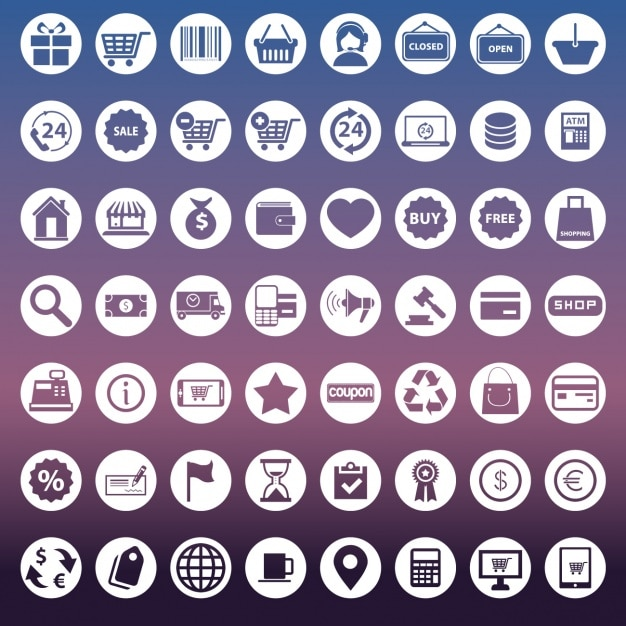 Sammlung von Icons für E-Commerce Kostenlose Vektoren