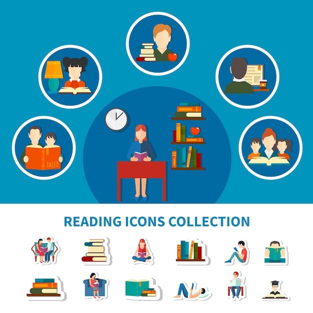 Sammlung von ikonen mit erwachsenen und kindern beim lesen von elektronischen und gedruckten büchern isoliert Kostenlosen Vektoren