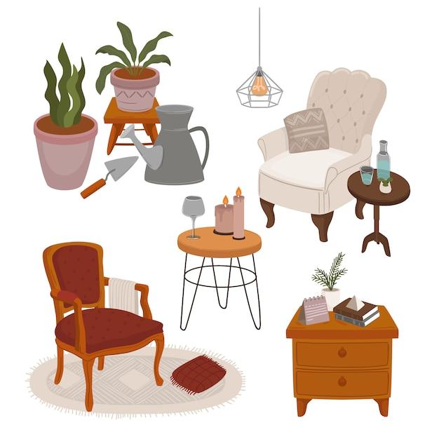 Sammlung von innenräumen mit stilvollen bequemen möbeln und wohndekorationen Premium Vektoren