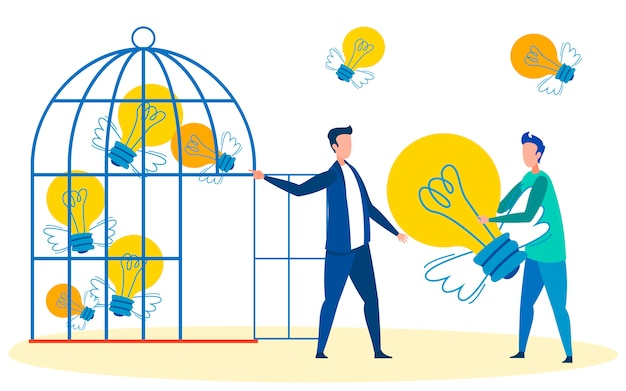 Sammlung von innovativen ideen metapher illustration Premium Vektoren