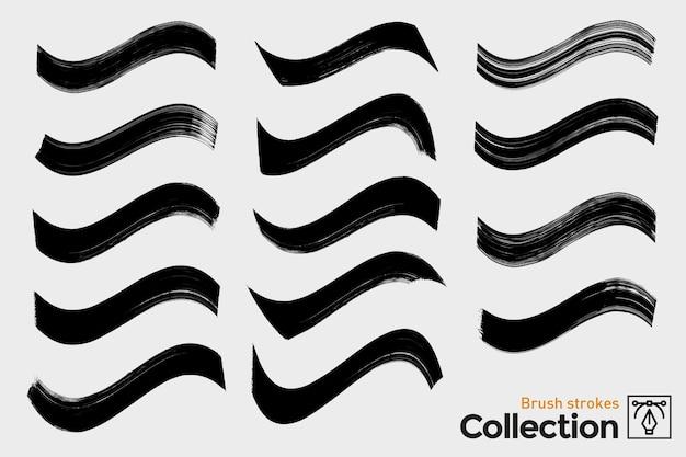 Sammlung von isolierten pinselstrichen. schwarze handgemalte pinselstriche. tinten-grunge-kurven. Premium Vektoren