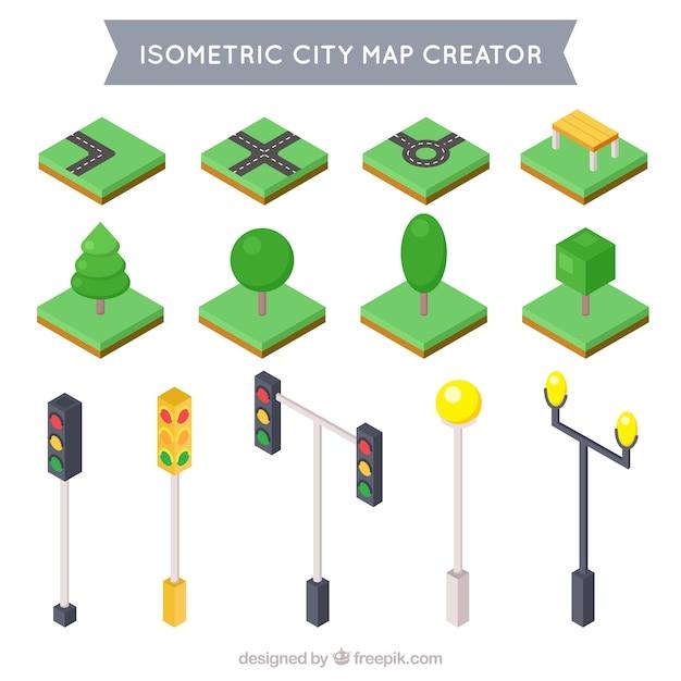 Sammlung von isometrischen elemente zu dekorieren sie ihre stadt Kostenlosen Vektoren