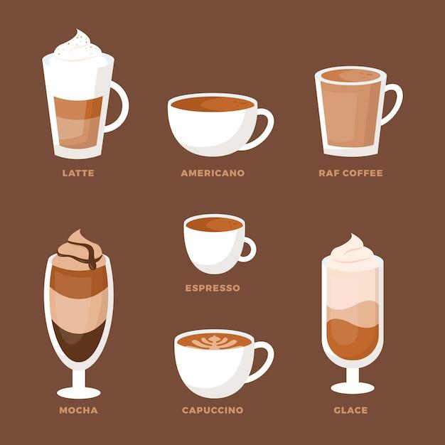 Sammlung von kaffeesorten Kostenlosen Vektoren