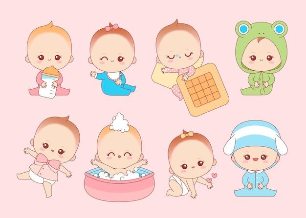 Sammlung von kawaii japanischen babys Kostenlosen Vektoren