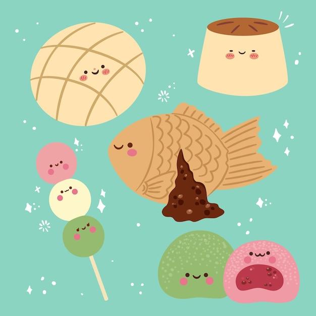 Sammlung von kawaii japanischen nachtisch Kostenlosen Vektoren