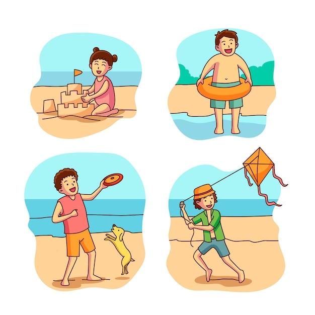Sammlung von kindern am strand Premium Vektoren
