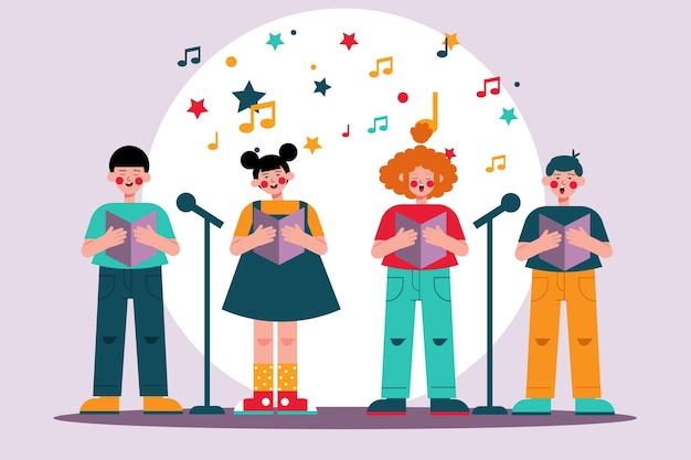 Sammlung von kindern, die in einem chor singen Kostenlosen Vektoren