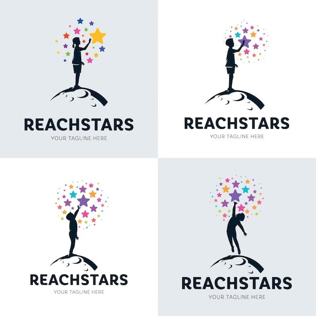 Sammlung von kindern, die star logo set erreichen Premium Vektoren