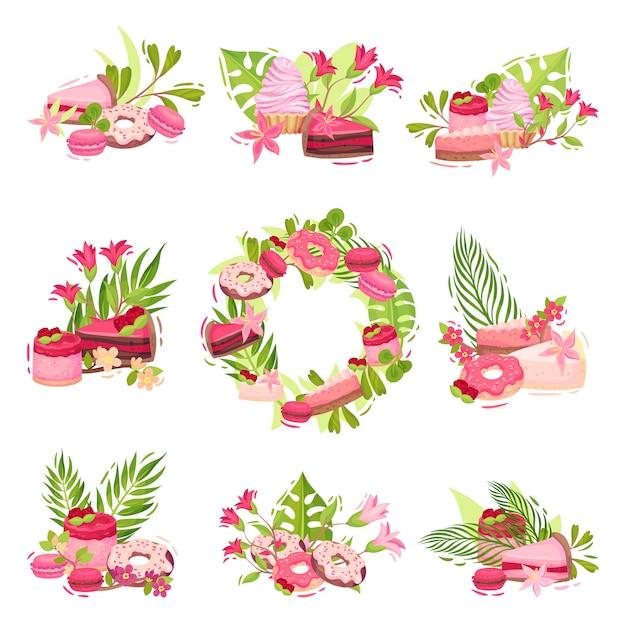 Sammlung von kompositionen aus blumen und süßigkeiten. illustration auf weißem hintergrund. Premium Vektoren