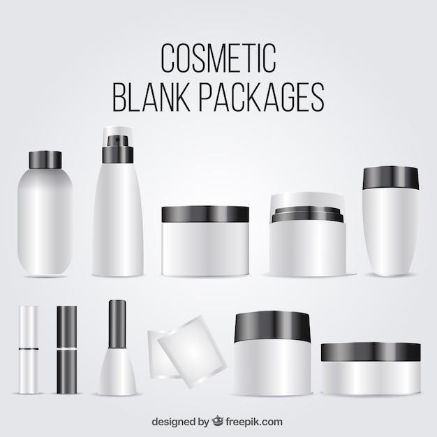 Sammlung von kosmetischen leere paket Kostenlosen Vektoren