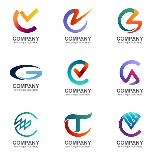 Sammlung von kreativen Kombinationsbuchstaben C Logo Premium Vektoren