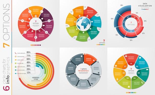 Sammlung von kreisdiagrammvorlagenoptionen. Premium Vektoren