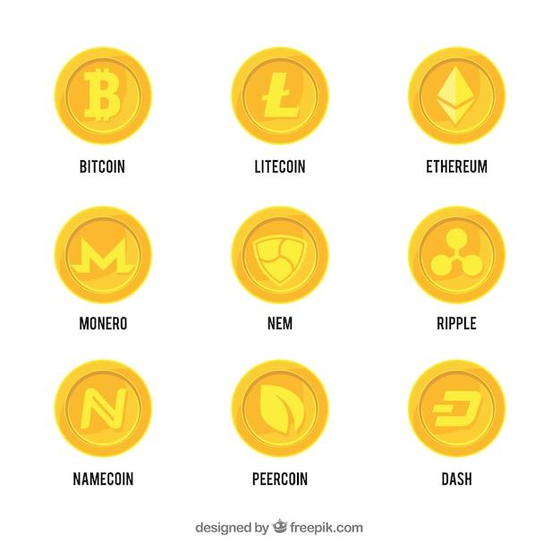 Sammlung von Kryptowährungs-Münzen Kostenlose Vektoren
