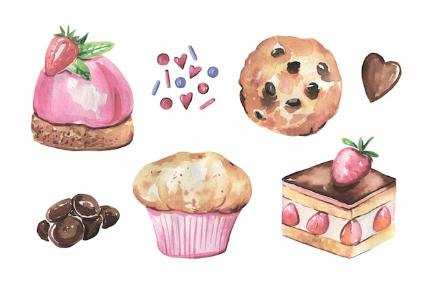 Sammlung von kuchen, handgezeichnete schokolade in aquarell Premium Vektoren