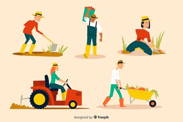 Sammlung von landarbeitern dargestellt Kostenlosen Vektoren