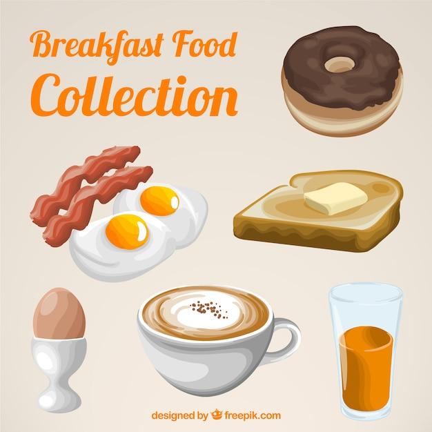 Sammlung von leckeren frühstück mit dessert Kostenlosen Vektoren