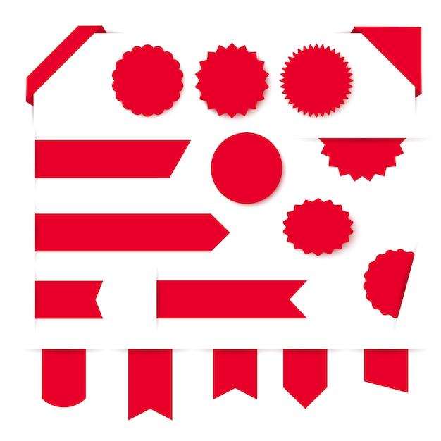Sammlung von leeren roten bändern banner und etiketten Premium Vektoren