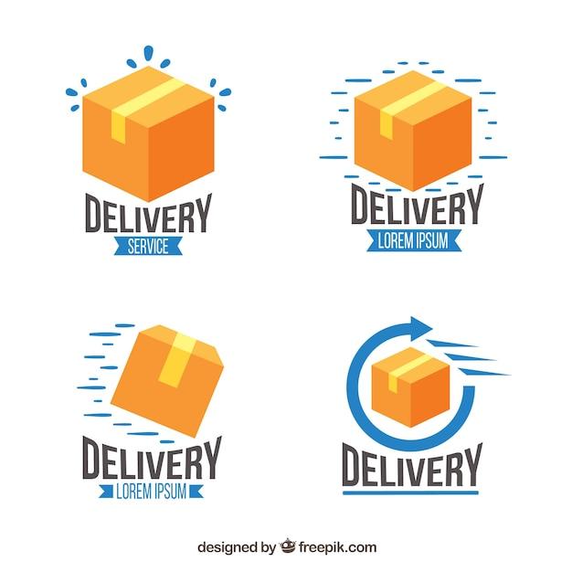Sammlung von liefer-logo-vorlagen Kostenlosen Vektoren