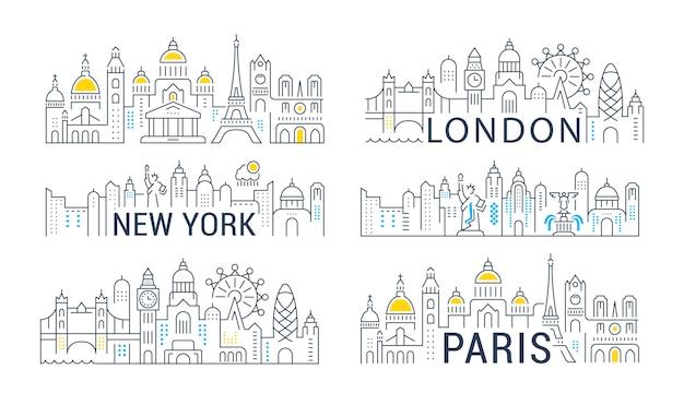 Sammlung von linearen banner von paris, london und new york. Premium Vektoren