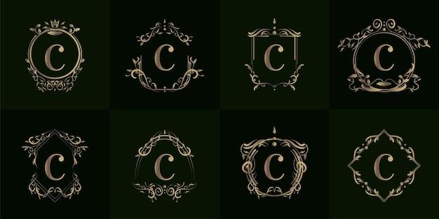 Sammlung von logo initiale c mit luxusverzierung Premium Vektoren