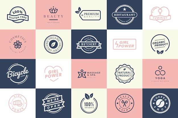 Sammlung von logo- und abzeichenvektoren Kostenlosen Vektoren