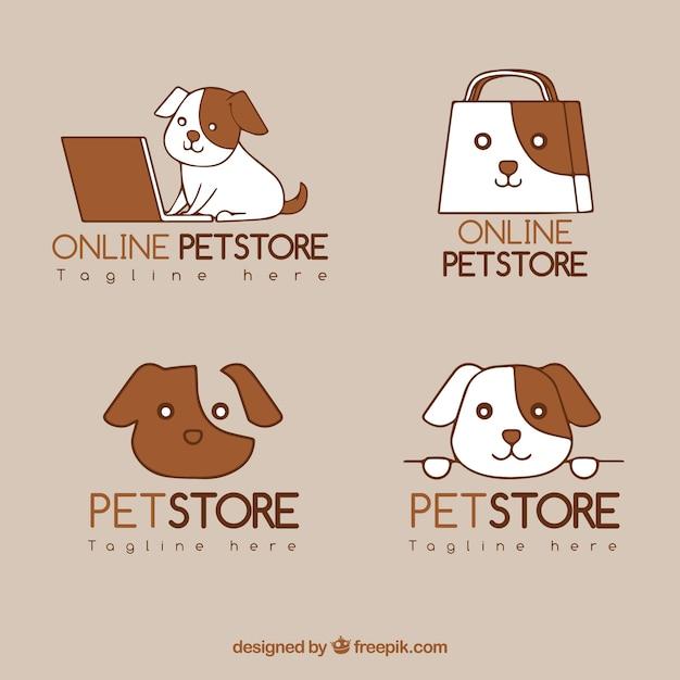 Sammlung von Logo-Vorlagen für Zoohandlungen Kostenlose Vektoren