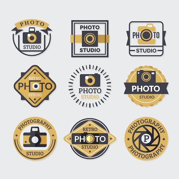Sammlung von logos, farben gold und schwarz Kostenlosen Vektoren