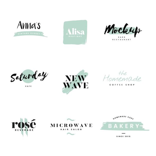 Sammlung von logos und branding-vektor Kostenlosen Vektoren
