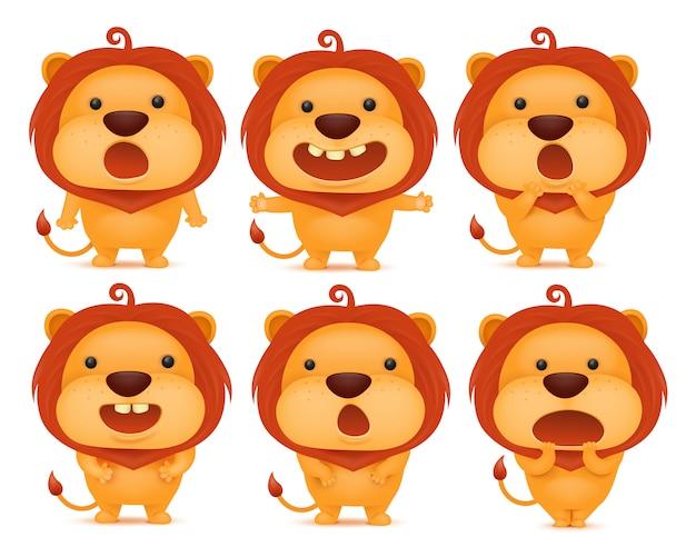 Sammlung von lustigen löwen emoticon zeichen in verschiedenen emotionen. Premium Vektoren
