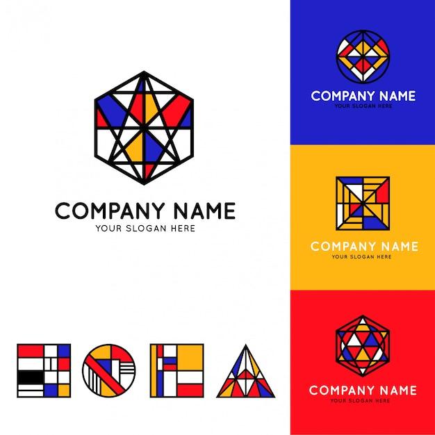 Sammlung von lustigen und bunten bauhaus-logos Premium Vektoren
