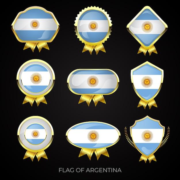 Sammlung von luxuriösen goldenen argentinischen flaggenabzeichen Premium Vektoren