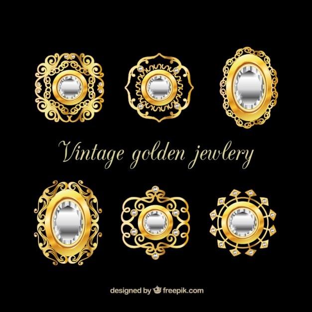 Sammlung von luxus-brosche Kostenlosen Vektoren