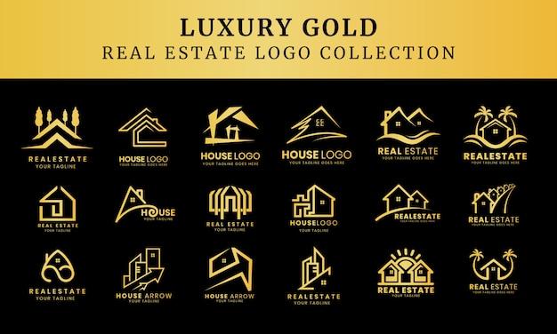 Sammlung von luxus-gebäudearchitektur-sets, immobilienlogo-design-symbole Premium Vektoren