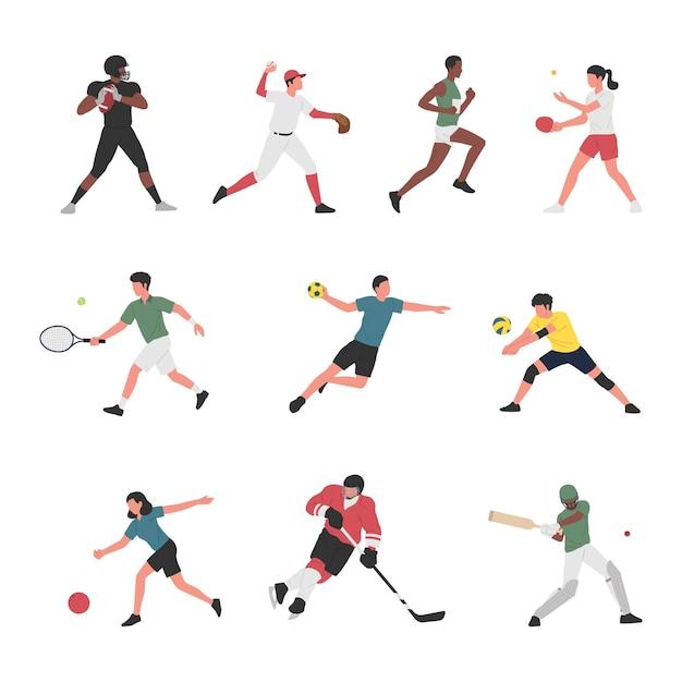 Sammlung von männern und frauen, die verschiedene sportliche aktivitäten ausführen. Premium Vektoren
