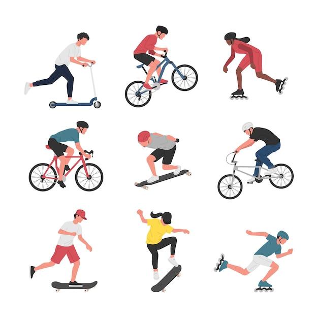 Sammlung von männern und frauen, die verschiedene sportliche aktivitäten mit rädern ausführen. Premium Vektoren