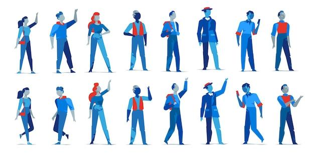 Sammlung von männlichen und weiblichen charakteren in verschiedenen posen isoliert Premium Vektoren