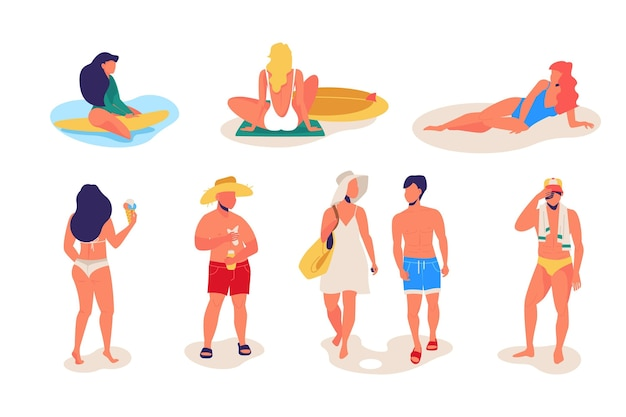 Sammlung von menschen, die am strand entspannen Kostenlosen Vektoren