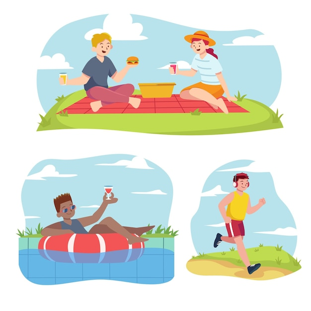 Sammlung von menschen, die verschiedene sommeraktivitäten im freien durchführen Kostenlosen Vektoren