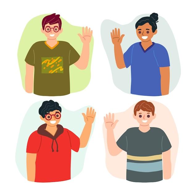 Sammlung von menschen hand winken Kostenlosen Vektoren