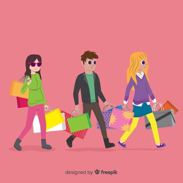 Sammlung von menschen mit einkaufstüten Kostenlosen Vektoren