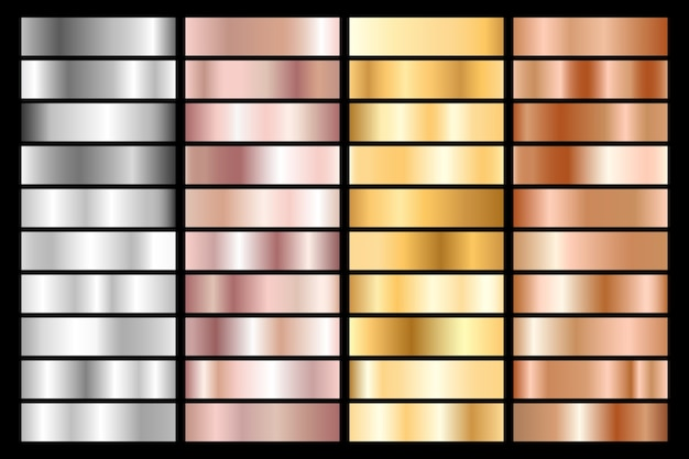 Sammlung von metallic-farbverläufen aus silber, chrom, gold, roségold und bronze. Premium Vektoren
