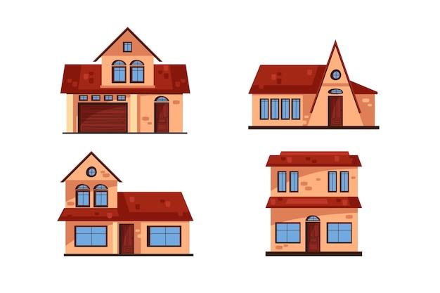 Sammlung von minimal verschiedenen häusern Kostenlosen Vektoren